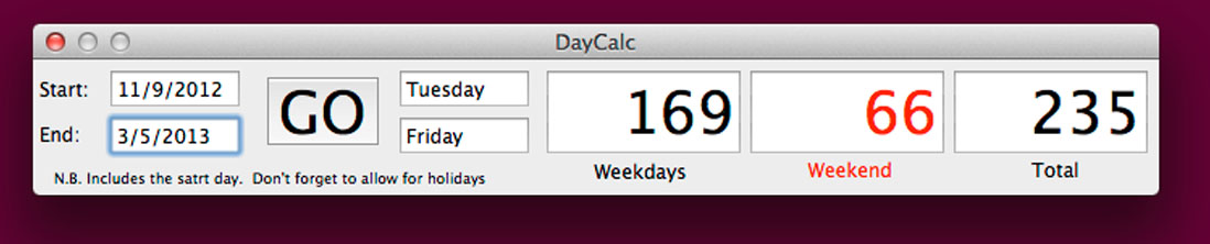 DayCalc in action